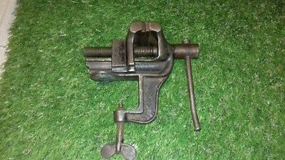 "Vintage Jewelers/model Makers Small Bench Vice - 2 1/4 Wide Jaws - 2"" Traverse"