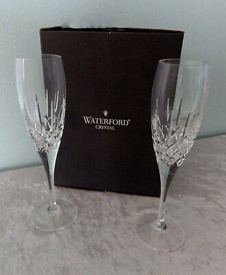 """2 Waterford Eclipse Nocturne champagne flutes Ireland cut crystal 9"""" boxed"""