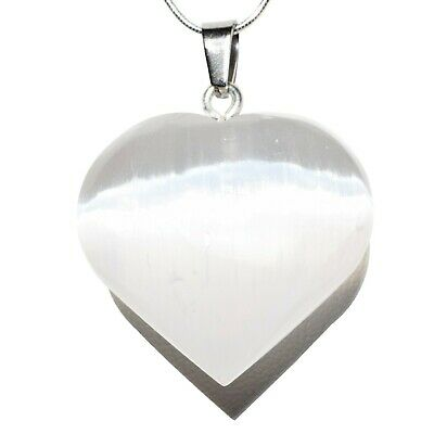 "CHARGED Moroccan Selenite Crystal Heart Perfect Pendant™ 20"" Silver Chain"