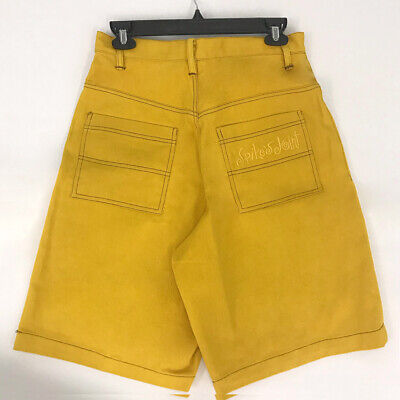 ⭕ 90s Vintage 40 ACRES and a MULE yellow shorts : shirt spike Lee pants 2pac 80s