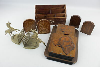 8 x Assorted Vintage BOOKENDS / RESTS Inc. Inlaid Wood, Brass Horses Etc