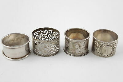 4 x Assorted Vintage Hallmarked LONDON STERLING SILVER Napkin Rings (91g)