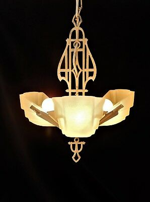 Genuine Art Deco 1920's Glass and iron Ceiling light, lamp, chandelier. in VGC