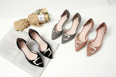 406b4bf2e5 Womens Suede Fabric d'Orsay Diamante Metal Pointed Toe Pumps Med Heel Shoes  S011