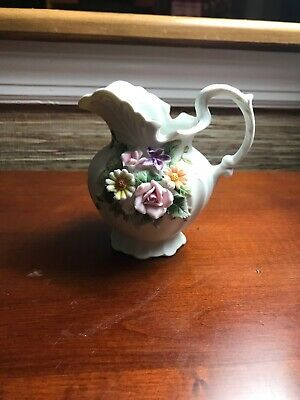 "Vintage Lefton China Floral Pitcher Hand Painted 4 1/2"" Tall KW 3221"