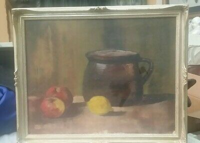 Original oil painting Signed, still life realism Apples & Lemon, Copper 14x18