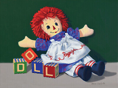 DANFORTH Raggedy Ann Doll 12x16 original oil painting, canvas still life realism