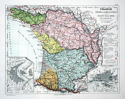 FRANCE FRANKREICH TOULOUSE Weltkarte Karte world map Lithographie ...