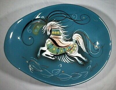 Sascha Brastoff Horse Footed Plate Mid Century Modern MCM Art Decorative Signed