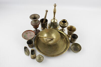 15 x Vintage Decorative BRASS Inc. Eastern, Indian, Vases, Engraved, Bowls 4443g