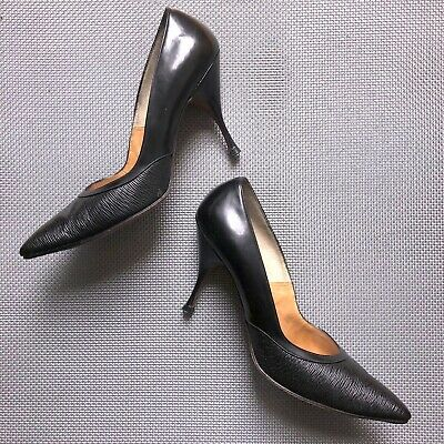 f6a23f47296c1 WOMENS VINTAGE STILETTO pumps heels black 1950s 1960s narrow pointed ...