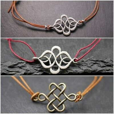 Leather Bracelet with Celtic Knot - Ornament_Silver & Bronze