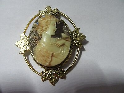 Vintage Lrg Cameo Victorian Lady Brown/cream Color Ornate Brooch*goldtone/plated