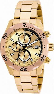 Invicta Specialty 17753 Men's Round Gold Tone Chronograph Date Analog Watch