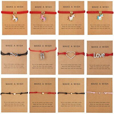 Fashion Heart Horse Card Bracelet Rope String Jewelry Lucky Bangle Adjustable