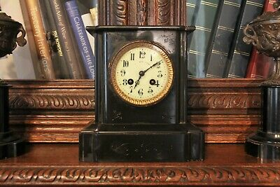 French Antique Black Slate Clock Japy Freres Cie c.1800's Working