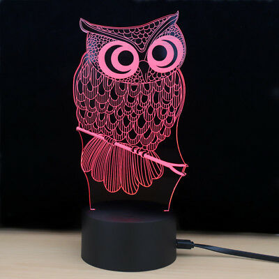 Shining Td182 Led Lamp 7Color LED 3D Lamp Owl Touch Atmosphere Night Light