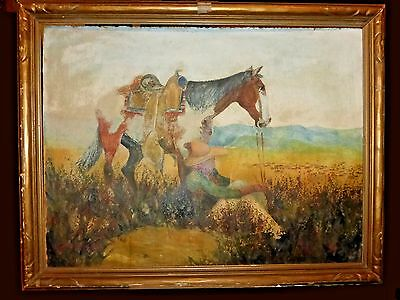 Old 1932 Cowboy & Horse Pastel Painting signed W L Hagenbagh Listed CA Artist