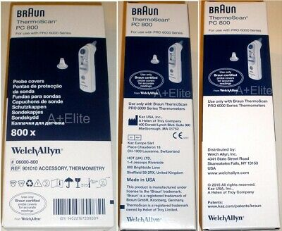BRAUN THERMOSCAN PC800 PRO 6000/4000 Digital Ear Thermometer Probe Covers 800/BX