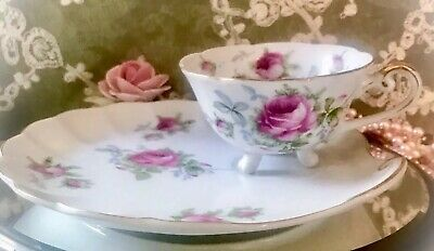 Antique HANDPAINTED Lefton China TEACUP & SNACK PLATE Tray Gorgeous 🥀