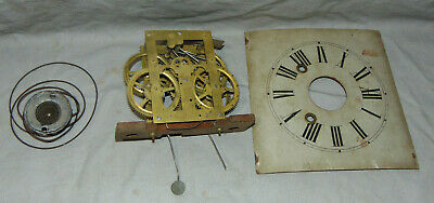 Antique Sperry & Shaw OG Ogee Clock Parts Brass Movement, Dial & More