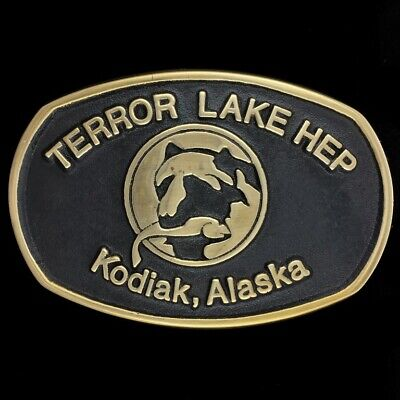Vtg 80s Terror Lake Hep Kodiak Island Alaska Oilfield Gas Nos Brass Belt Buckle