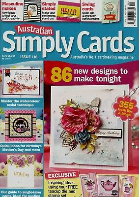 Australian Simply Cards   Magazine Issue 116.  2018     Free Gift.