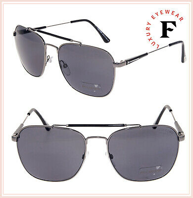 7ccfda98df88 TOM FORD TF377 EDWARD 09D Black Gunmetal POLARIZED Sunglasses Metal  Navigator