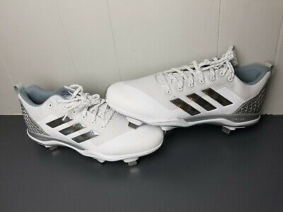 6f25104e869 MENS ADIDAS POWER Alley 5 Baseball Cleats Size 10 WHITE SILVER METAL ...