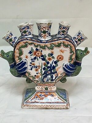 Antique Ornate French Faience   Finger Vase    Circa 1860