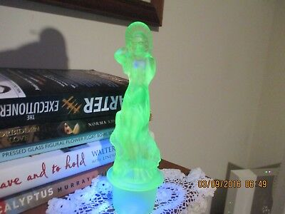 Uranium Glass float bowl Lady CENTREPIECE /  Figurine ( ARABELLA )