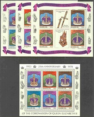 1978 Barbuda #345-7 Mint Never Hinged Set of 4 Mini-Sheets Silver Jubilee