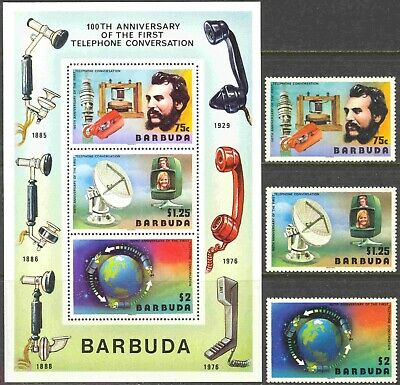 1977 Barbuda #260-262a Complete MNH Set of 3 Plus SS 100th Anniversary Telephone