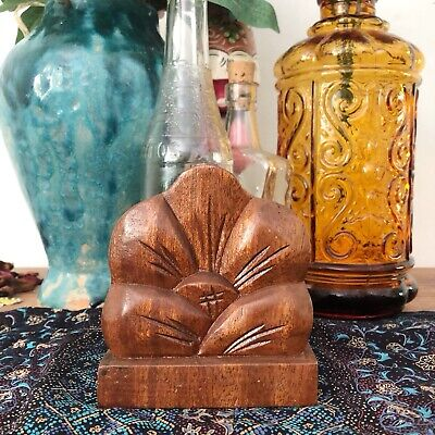 Vintage Retro Wooden Serviette Holder Flower Hibiscus Tropical Wood Timber Boho