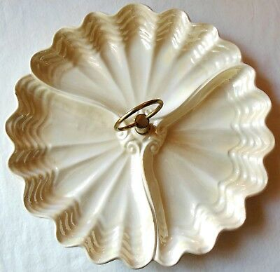 Vintage Maddux 3 Part Divided Tidbit Snack Tray Center Handle Shell Luster