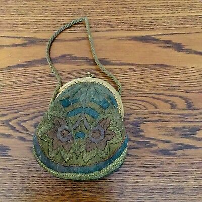"""REDUCED! 1920s French ART DECO Metallic EMBROIDERED French Handbag 5 1/2"""" X 5"""""""