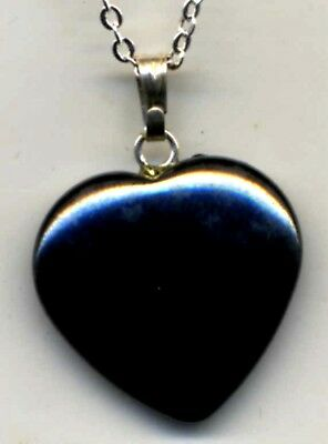 black  ONYX  heart shaped  HEALING Crystal  PENDANT  chain and protective pouch