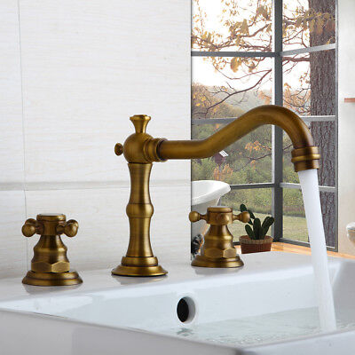 FA Deck Mounted Antique 3PCS 2 Cross Handles Brass Kitchen Sink Faucet Mixer Tap