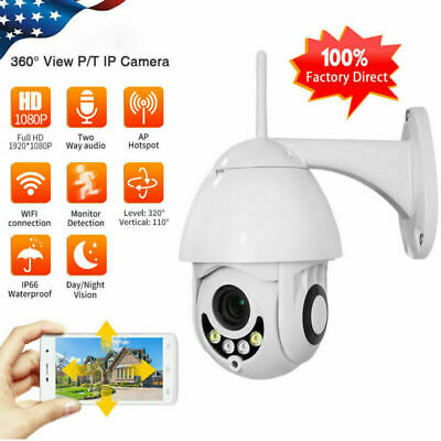 Wireless 1080P HD Wifi PTZ IP Security Camera Home Outdoor Waterproof TF Slot