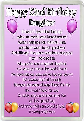 Happy 22nd Birthday Daughter Poem Jumbo Magnet Ideal Gift M92