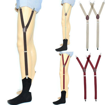 1 Pair Men's Shirt Stays Holders Elastic Garter Belt Non-slip Locking Clamps NEW