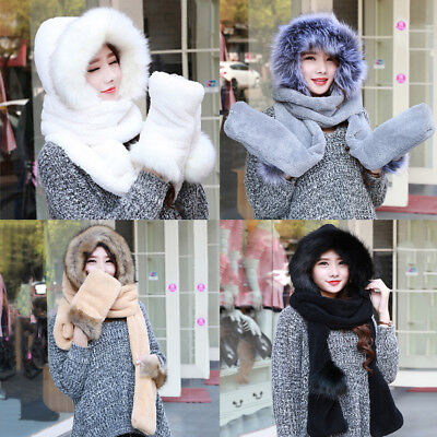 Winter Warm Soft Ski Hat With Long Scarf Mittens Hood Faux Fur Attached Gloves