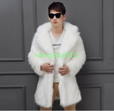 Luxury Mens Faux Fur Long Thicken Winter Collar Jacket Coat Outwears Parkas 2018