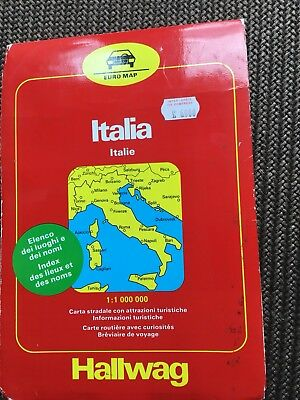 Hallwag Vintage Flat Folded Road Map Italy 1983/1984