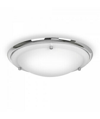 Flush Bathroom Ceiling Light IP44 Rated Glass and Silver Modern Sleek Chrome