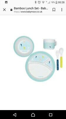 Babymoov Baby/Childs Bamboo Dinnerware Set AzurA005510 boxed, plate, cup, bowl..