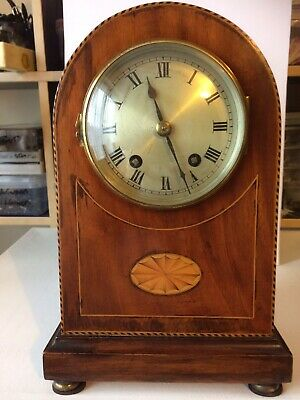 Edwardian Inlaid Mantel Clock by Astral of Coventry Chiming Working Order
