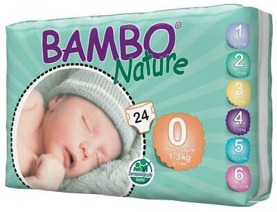 Bambo Nature Nappies Size 0 Premature 1-3kg - 24 Pack