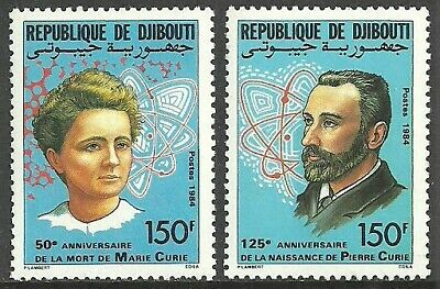 Djibouti 1985 Medical Pierre & Marie Curie Physicists Set Mnh