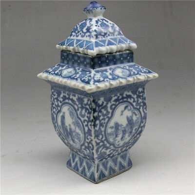 Old Chinese blue and white porcelain layered tower vase W qianlong mark
